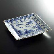 w8823-200-1 21.8x22.0福泉窯染付角皿