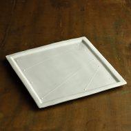 w8824-180-1 22.5x22.5青磁細線書角額縁皿