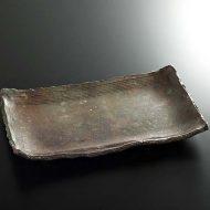 w8833-300-1 34.0x22.0x4.2立杭茶縁すじめ長角皿
