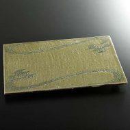 w8846-200-1 30.6x22.8草色流水まな板皿