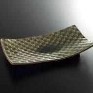 w8849-90-1 31.0x18.0x5.0ガラス釉格子長角皿