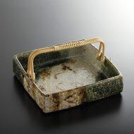 w8862-150-1 20.4x20.4x4.5織部手つき縁高角皿
