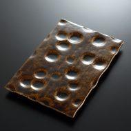 w8868-90-1 27.0x17.5艶茶えくぼ長角平皿