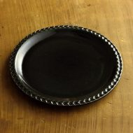 y1006-60-1 φ20.6黒縁ダイヤ柄アンティーク皿WEDEK4418