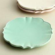 y1046-20-1 φ14.5フランフランクリーム色皿 水色