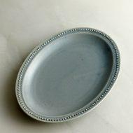 y1105 青グレーエンボス楕円皿