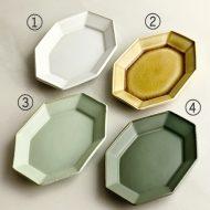 y1117 細六角小皿 白、薄茶、薄緑、オリーブ (吉田健宗)