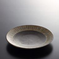 y1172-90-2 φ19.3x2.6アンティークこげ茶白しのぎケーキ皿DENMARK
