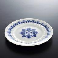 y1173-25-2 φ14.3アンティーク白地青柄パン皿