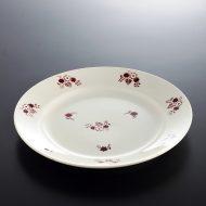 y1174 アンティークきなり赤花柄ケーキ皿 フランス