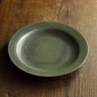 y1193-65-1 φ17.5x2.0オリーブ色まだらリム皿(iihoshi)