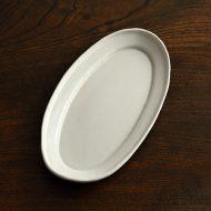 y1562 白釉楕円リム皿小(中田雄一)