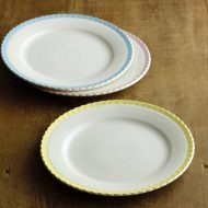 y2094-40-3 φ19.5DIGOIN縁ラインギザケーキ皿 黄 水色 ピンク
