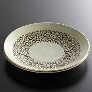 y2225-100-1 φ21.0生成り茶丸模様アンティーク皿
