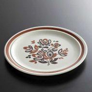 y2282-40-1 φ20.5アンティーク茶ライン花ケーキ皿