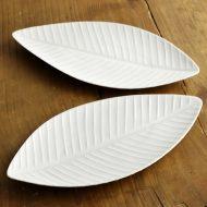 y2359-45-2 16.0x23.2白磁葉形皿