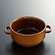 y4156-45-1 15.0x11.5x5.3茶色アンティーク両手付スープカップ