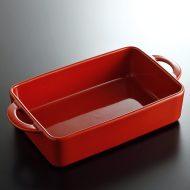 y4615-70-1 23.7x12.8x4.8赤両手つき長角グラタン皿Kurihatra