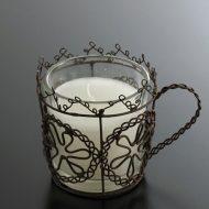 y6528-30-1 9.0x6.5x6.5こげ茶ワイヤーキャンドルカップ
