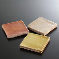 y6547-15-3 10.5x10.5x1.0タイル煉瓦 からし色 薄茶 レンガ色