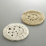 y8001-15-2 φ9.0綿麻かぎ針編み丸コースター 白 薄茶