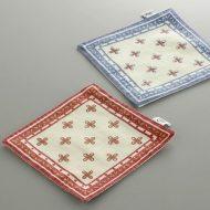 y8028-15-2 10.5x10.5花プリント角コースター 赤 青