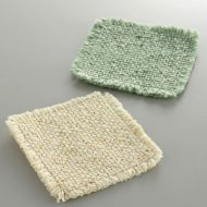 y8038-15-2 11.0x11.0毛糸ふさ付きコースター生なり 緑