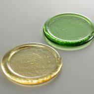 y8044-20-2 φ7.8色ガラスコースター 黄 緑